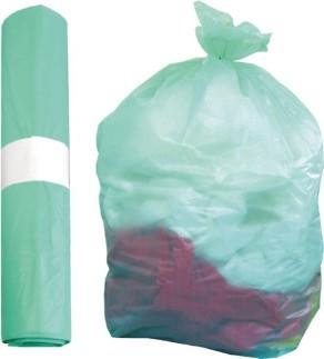 Sacchi rifiuti trasparenti  70×110 cm. verdi
