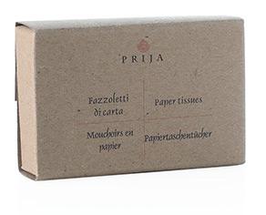 Prija Fazzoletti in ovatta in carta in astuccio di carta riciclata.