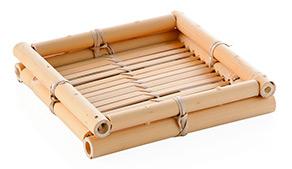 Vassoio portacortesia quadrato in bamboo